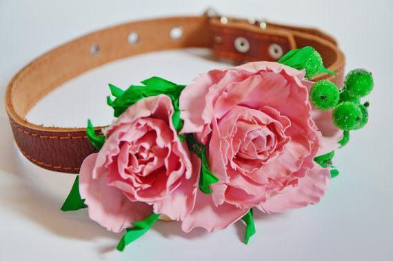 Linda coleira artesanal com flores para cadela