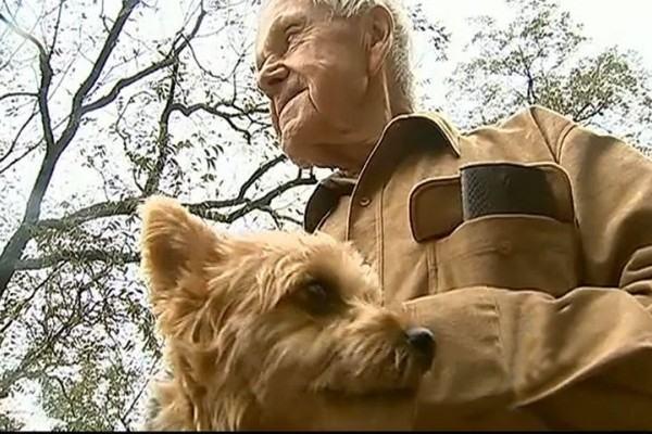 Idoso preso em inundação recusa salvamento para não abandonar sua cadela