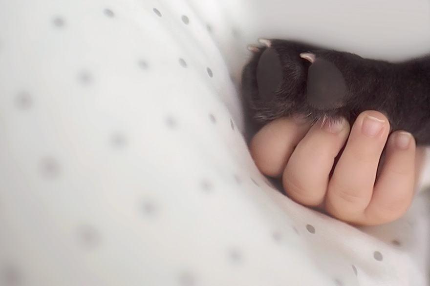 bebe-segurando-pata-de-filhote